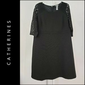 Catherine Black Lace Fit & Flare Dress Black Sz 0X